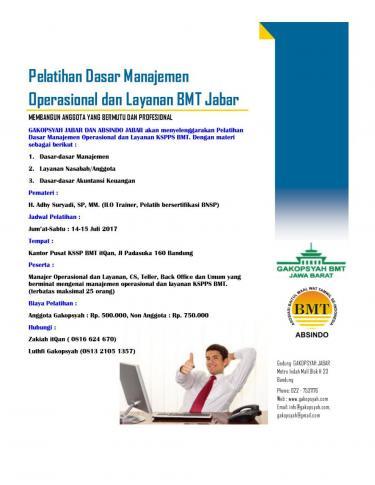 Pelatihan Dasar Manajemen Operasional dan Layanan BMT Jabar
